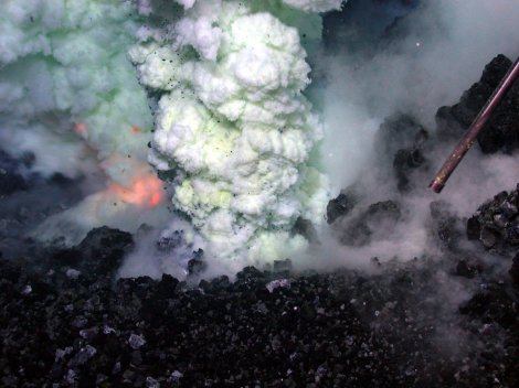 View of an erupting underwater volcano. Tamu Massif is an extinct volcano.